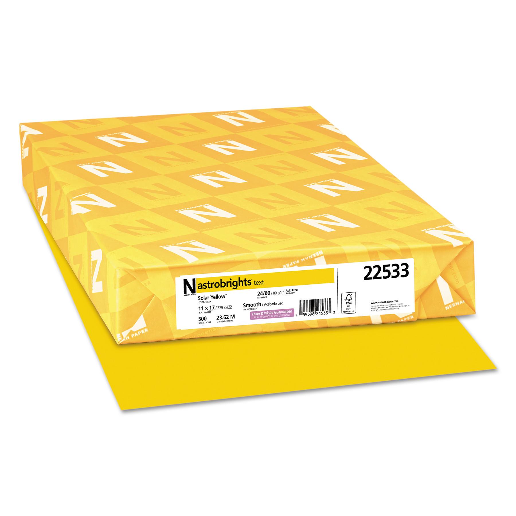 Astrobrights Color Paper, 24lb, 11 x 17, Solar Yellow, 500 Sheets -WAU22533