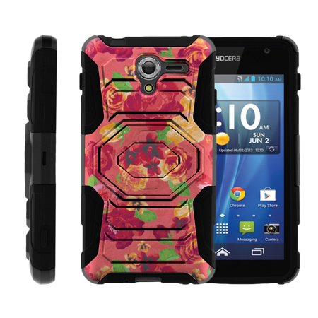 Case for Kyocera Hydro View | Case for Hydro Reach [ Armor Reloaded ] Heavy Duty Rugged Case with Built In Kicsktand + Belt Clip - Pink Floral