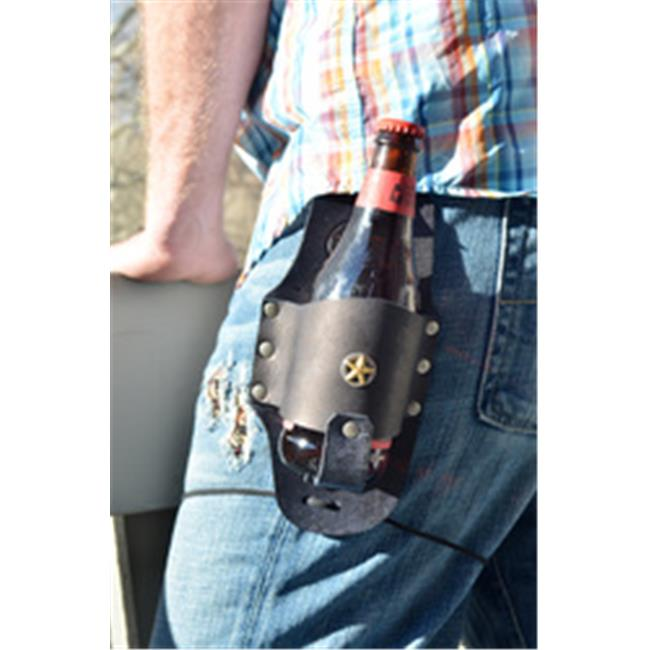 Rocky Mountain Holster Leather Beer Holster With Texas Star - Black