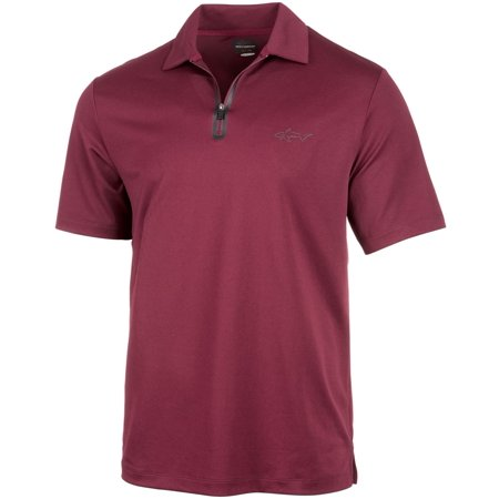 Greg Norman Mens Zip Rugby Polo Shirt port L