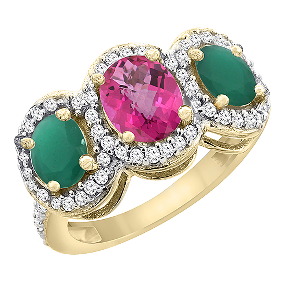 14K Yellow Gold Natural Pink Sapphire & Emerald 3-Stone Ring Oval Diamond Accent, size 5 by Gabriella Gold