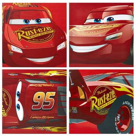 Disney Cars Lightning McQueen 4 Pack Canvas Wall Art