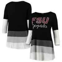Florida State Seminoles Women's Block Party Color Blocked Drapey Long Sleeve Tri-Blend Tunic Shirt - Black/Gray