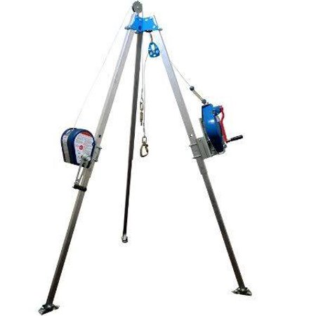 FallTech 7511 Confined Space Tripod Kit with Storage Bags with 7-Foot Tripod, 60-Foot SRL, 60-Foot Winch, and Bracket