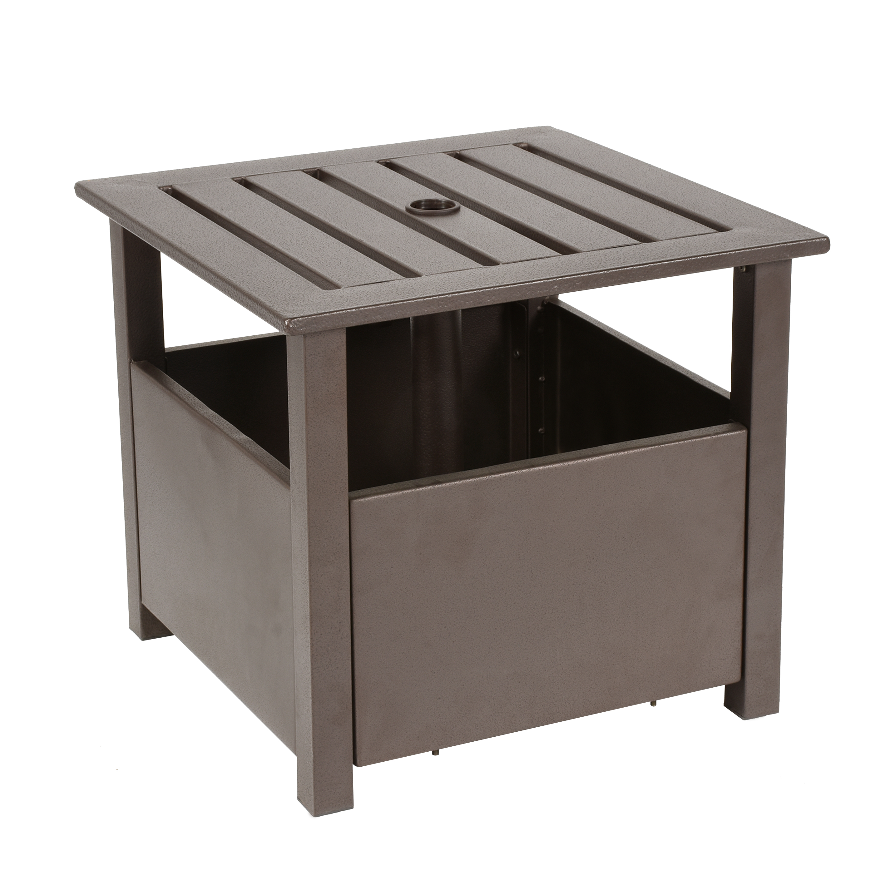 California Umbrella Sunmaster Series Aluminum Side Table with Umbrella Stand Fillable Base with Bronze