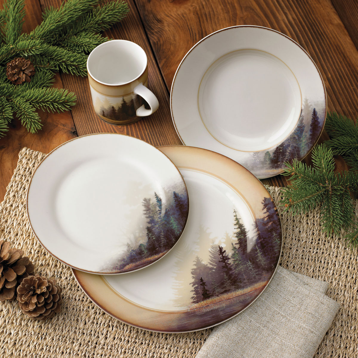 Misty Forest Cabin Dinnerware Set   16 Pcs   Cabin Dining Tableware    Walmart.com