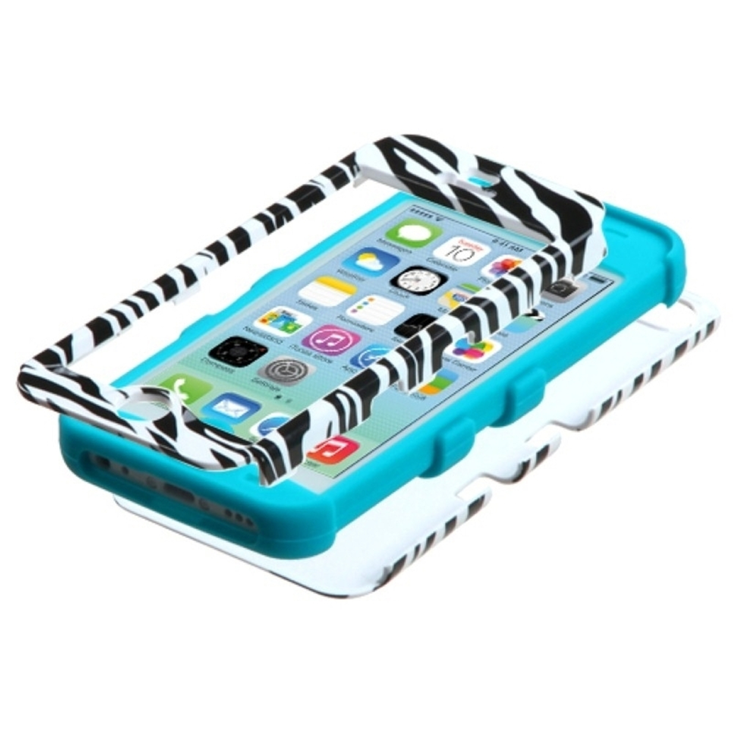 Insten Zebra Skin/Tropical Teal Hard Silicone Hybrid Cover Case Protector For Apple iPhone 5C