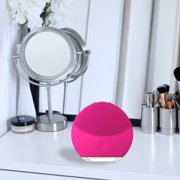 Mini Portable 2 Facial Cleansing Brush Face Sonic Skin Care Wash Device Gentle Exfoliation Waterproof for All Skin Types (Rose Red)