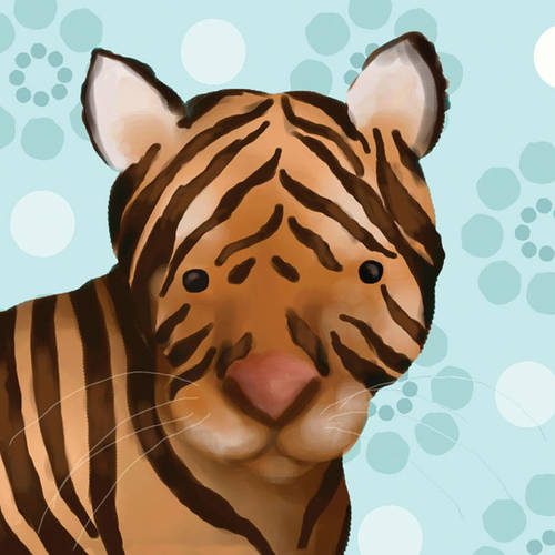 Oopsy Daisy's Aaron the Tiger Blue Canvas Wall Art, 10x10