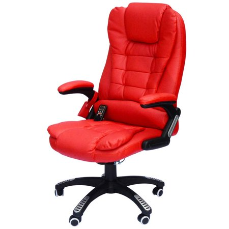 High-Back Executive Ergonomic PU Leather Heated Vibrating Massage Office Chair - Red