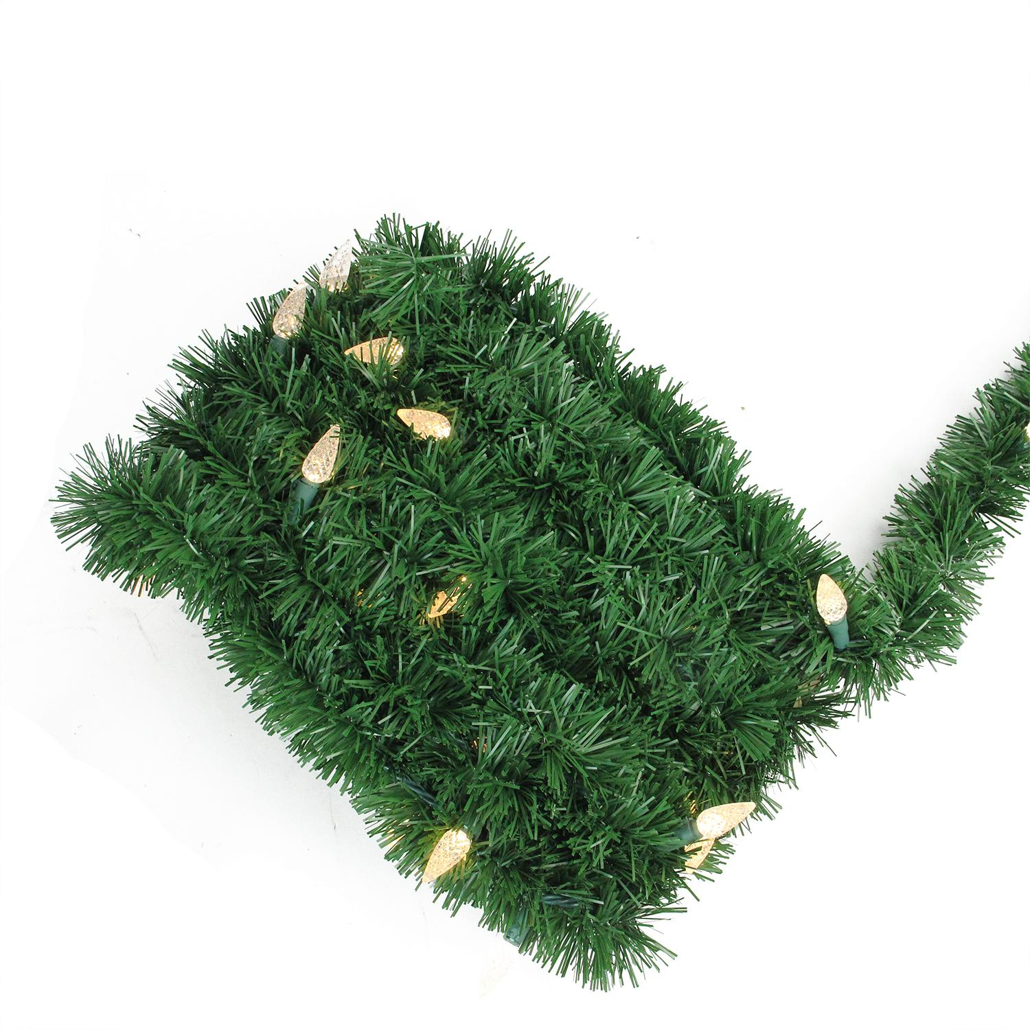 18' Pre-Lit Green Pine Artificial Christmas Garland - Warm White ...