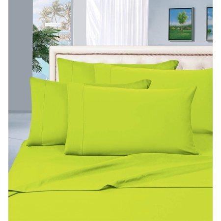Elegant Comfort 1500 Series Wrinkle Resistant Egyptian Quality Hypoallergenic Ultra Soft Luxury 4-Piece Bed Sheet Set, Queen, Lime Green ()