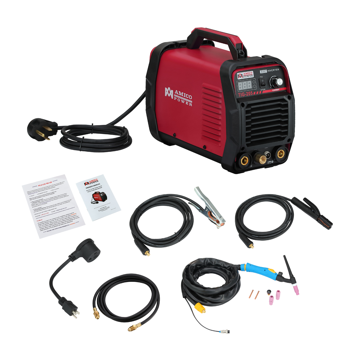 TIG-205 200 Amp HF-TIG Torch/Arc/Stick 2-IN-1 Welder 115/230V Dual Voltage Welding