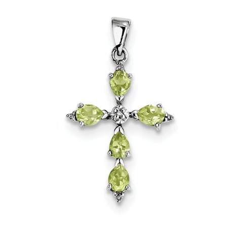 Sterling silver rhodium pear peridot cross pendant walmart sterling silver rhodium pear peridot cross pendant mozeypictures Image collections