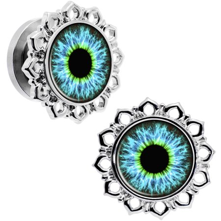 Steel Brilliant Blue Exploding Eye Flower Frame Screw Fit Plug Set of 2 00 (Screw Gauge Sizes)