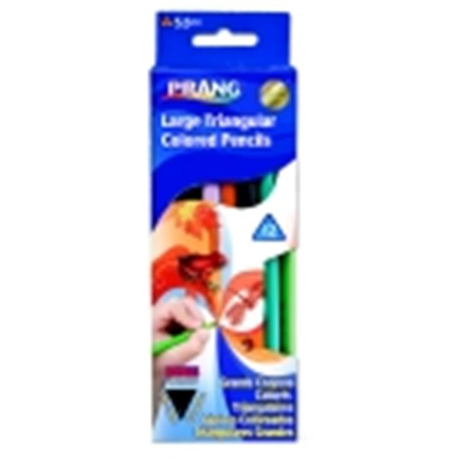 Prang Large Non-Toxic Pre-Sharpened Triangular Colored Pencils - Assorted Colors, Pack 12