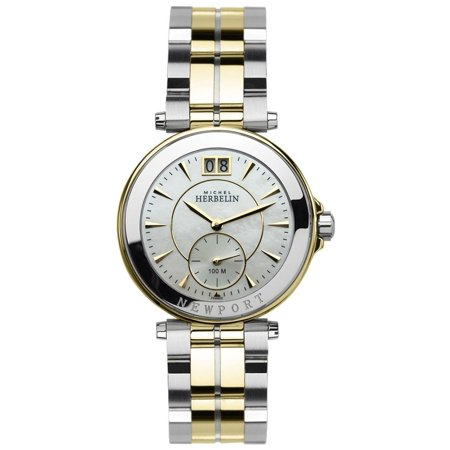 michel herbelin women 39 s 39mm two tone steel plated bracelet steel case quartz mop dial watch. Black Bedroom Furniture Sets. Home Design Ideas
