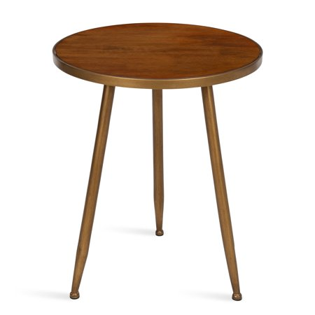 Kate and Laurel Clegg Midcentury Modern 3-Legged Round Wood and Metal Side Table, Walnut Brown ()