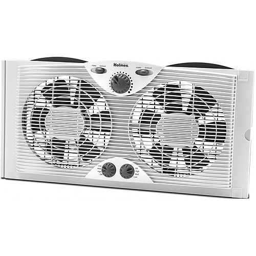 "Jarden Home Environment Holmes 9"" Twin Window Fan with Manual Thermostat"