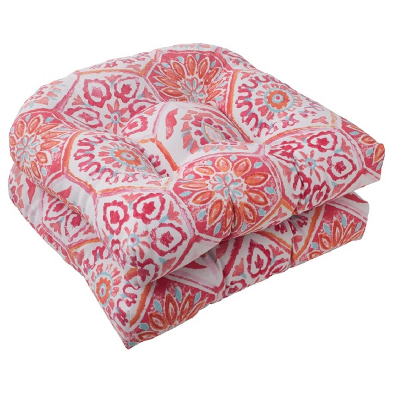Set of 2 Pink Psychedelic Kaleidoscopic Outdoor Patio Seat Cushions 19""