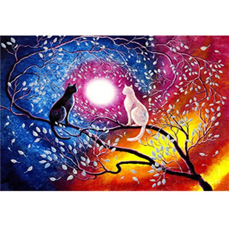 DIY Diamond Painting Colorful Two Cats Tree Flowers Moon Cross Stitch Embroidery Decoration Resin Mosaic Round Full Diamond