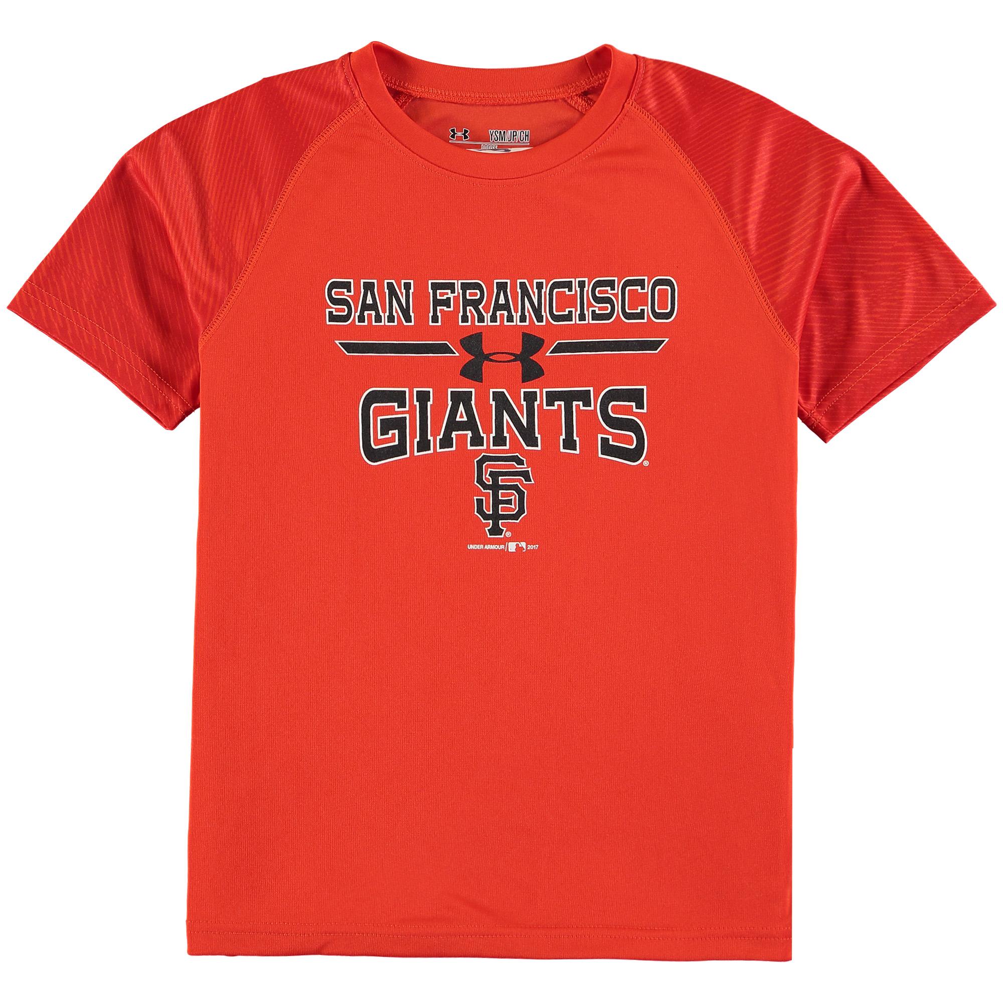 San Francisco Giants Under Armour Youth Tech Electro Color Block T-Shirt - Orange