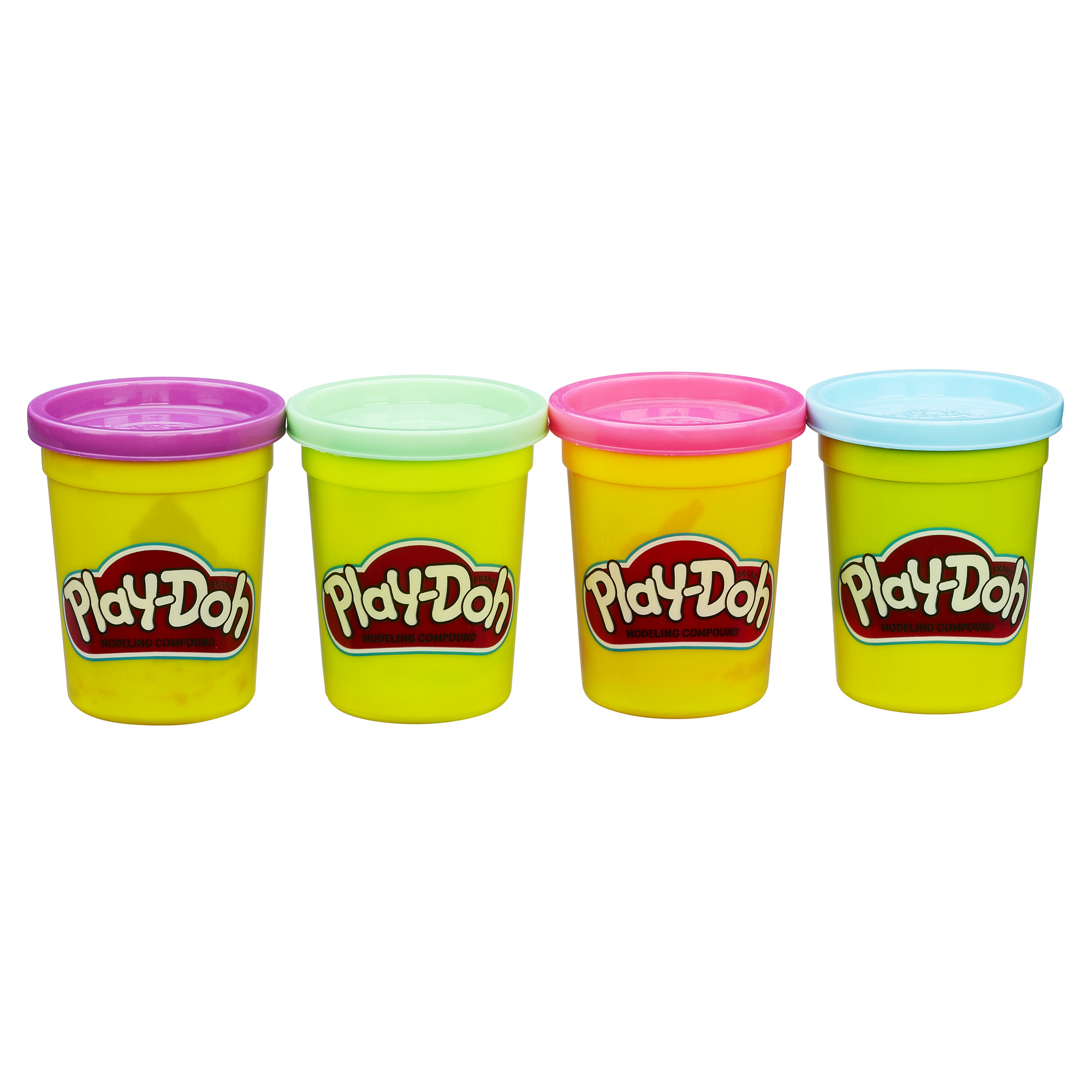Play-Doh Pack of Bold Colors: Purple, Green, Pink & Blue, 16 oz