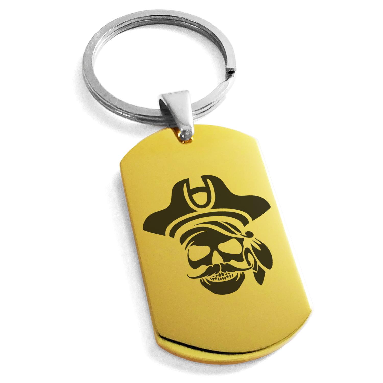 Stainless Steel Sea Dog Pirate Skull Emblem Engraved Dog Tag Keychain Keyring
