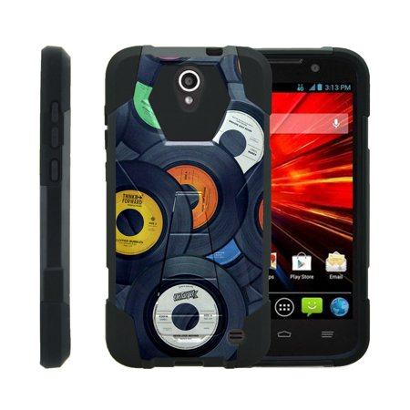 TurtleArmor ® | For ZTE Grand X 3 | Warp 7 | ZMax Champ | ZMax Grand | ZMax 3 | Avid [Dynamic Shell] Dual Layer Hybrid Silicone Hard Shell Kickstand Case - Vintage Record