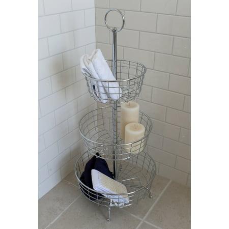 Kohler Shower Tower (Splash Home Ester Floor Shower Caddy Bathroom 3-Shelf Tower -)