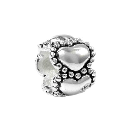 (Queenberry Sterling Silver Endless Love Heart European Bead Charm Fits Pandora)