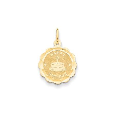 14k Yellow Gold Happy Birthday Charm - .5 Grams - Measures 22.6x15.6mm