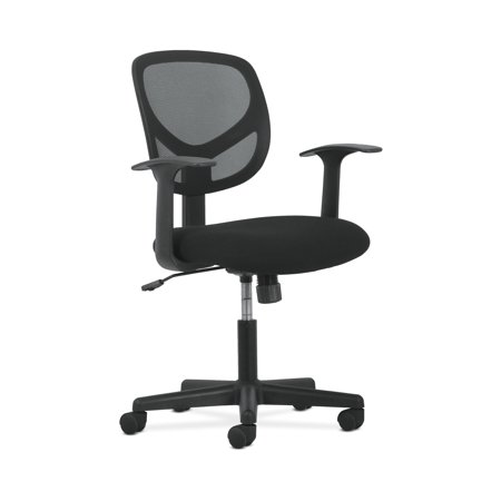 Sadie Swivel Mid Back Mesh Task Chair with Arms - Ergonomic Computer/Office Chair, Black (HVST102) Array Small Back Chair