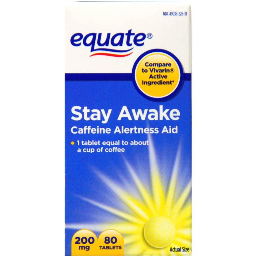 Equate Stay Awake Max Strength Caffeine Alertness Aid, 200 Mg, 80 Ct