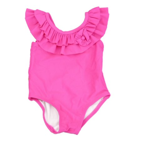 Pink Bathing Suit - Infant Girls Pink Ruffle Swim Suit Swimming 1 Piece Bathing Suit
