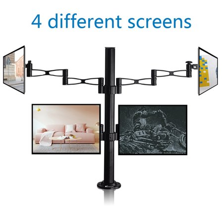 Quad Lcd Monitor Stand - Vemount Quad LCD Monitor Desk Mount Stand Heavy Duty Fully Adjustable Fits 4 /Four Screens for 14-27