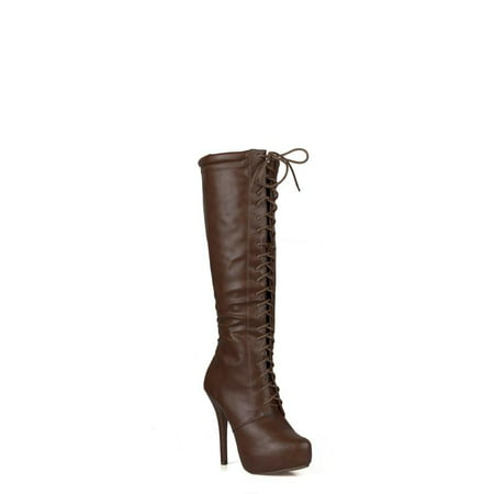 Nature Breeze Lace up Women's Knee High Boots in Brown