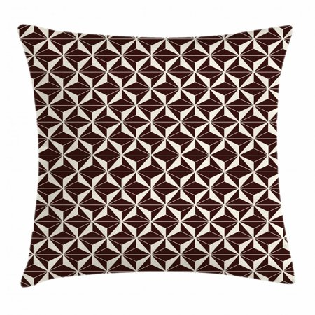 Contemporary Cushion Cover - Geometric Throw Pillow Cushion Cover, Contemporary Abstract Pattern with Contrast Colored Triangle Tiles, Decorative Square Accent Pillow Case, 20 X 20 Inches, Seal Brown and Cream, by Ambesonne