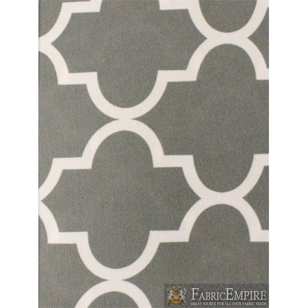 Indoor/Outdoor Waterproof Moroccan Mosaic Canvas Fabric GREY UV Resistant 60