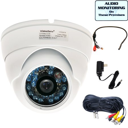 VideoSecu IR Day Night Security Camera Built-in 1/3 inch SONY CCD 600TVL Wide Angle with Power, Cable and Audio Microphone be2