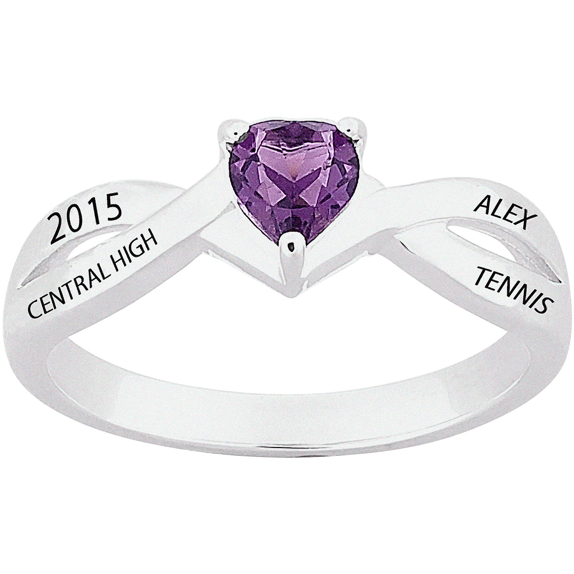 Personalized Sterling Silver Heart Birthstone Class Ring