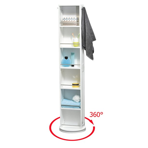 Swivel Storage Cabinet Organizer Tower, Free Standing Swivel Mirror