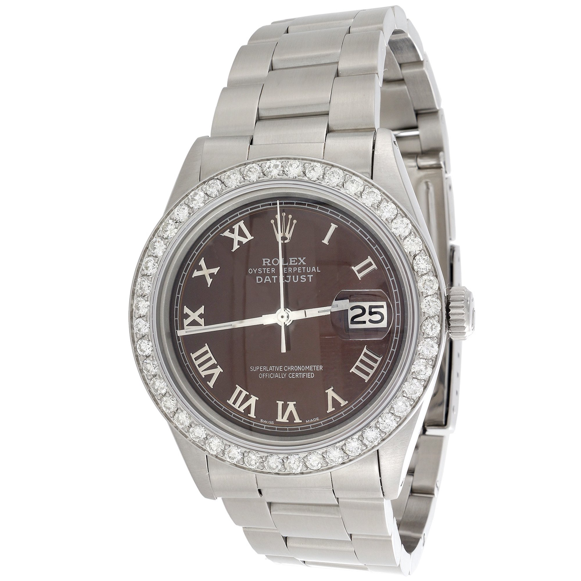 6716be802e14 Mens Rolex DateJust Diamond Watch 36mm Custom Brown Roman Numeral Dial 1.90  CT.