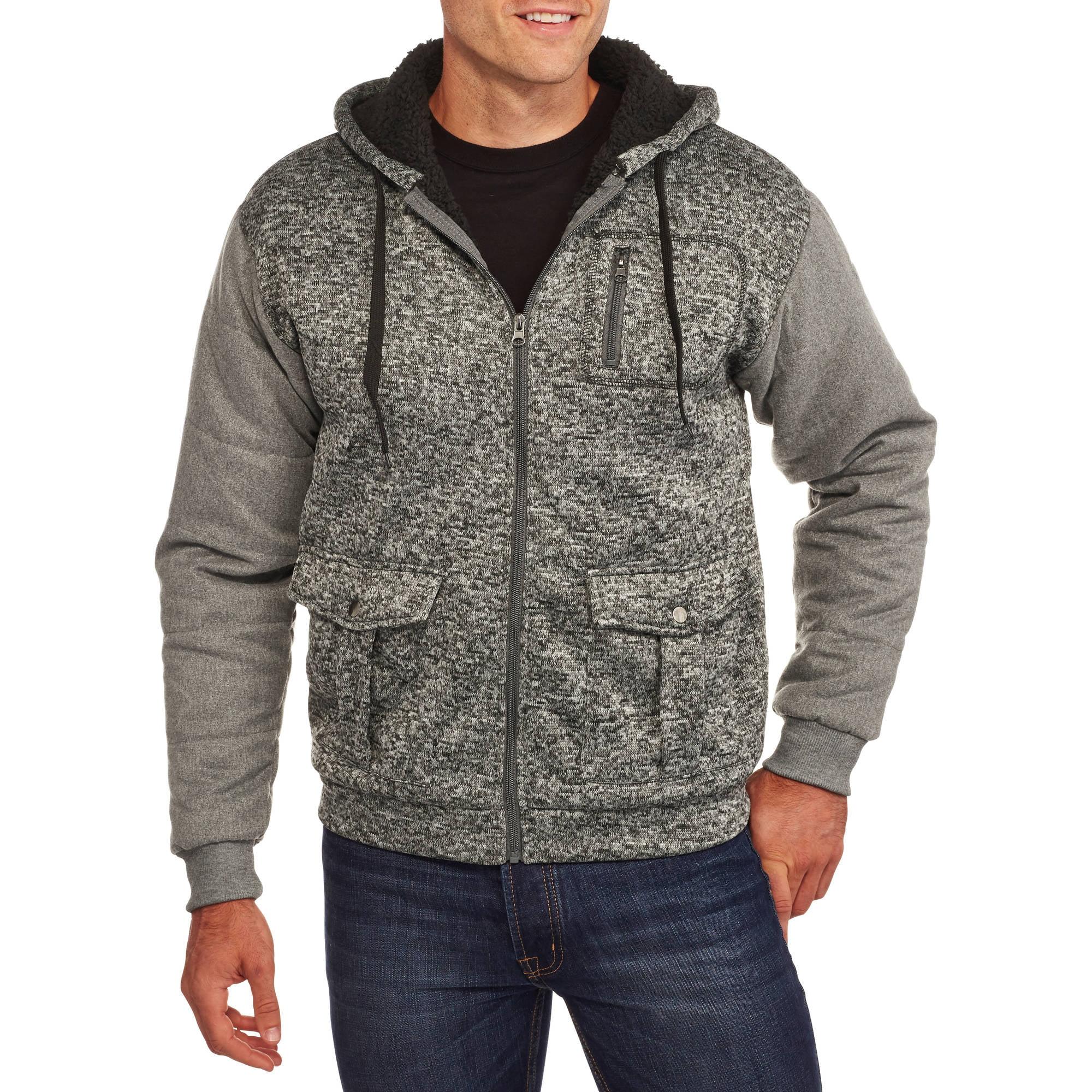 Big Men's Sherpa Hoodie with Contrast Sleeves
