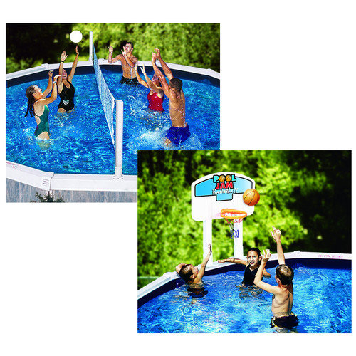 Cool Jam Combo Basketball/Volleyball Game for In-Ground Pools