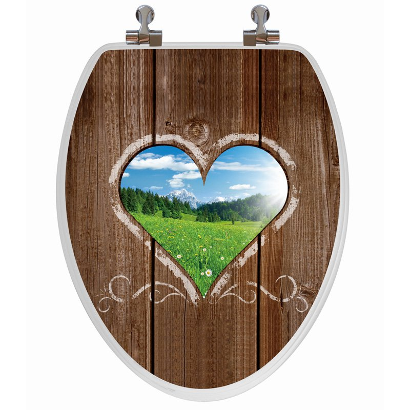 Topseat 6TS3E3906CP Love Window Elongated 3D Toilet Seat