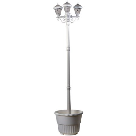 westinghouse 3 head white solar lamp post. Black Bedroom Furniture Sets. Home Design Ideas