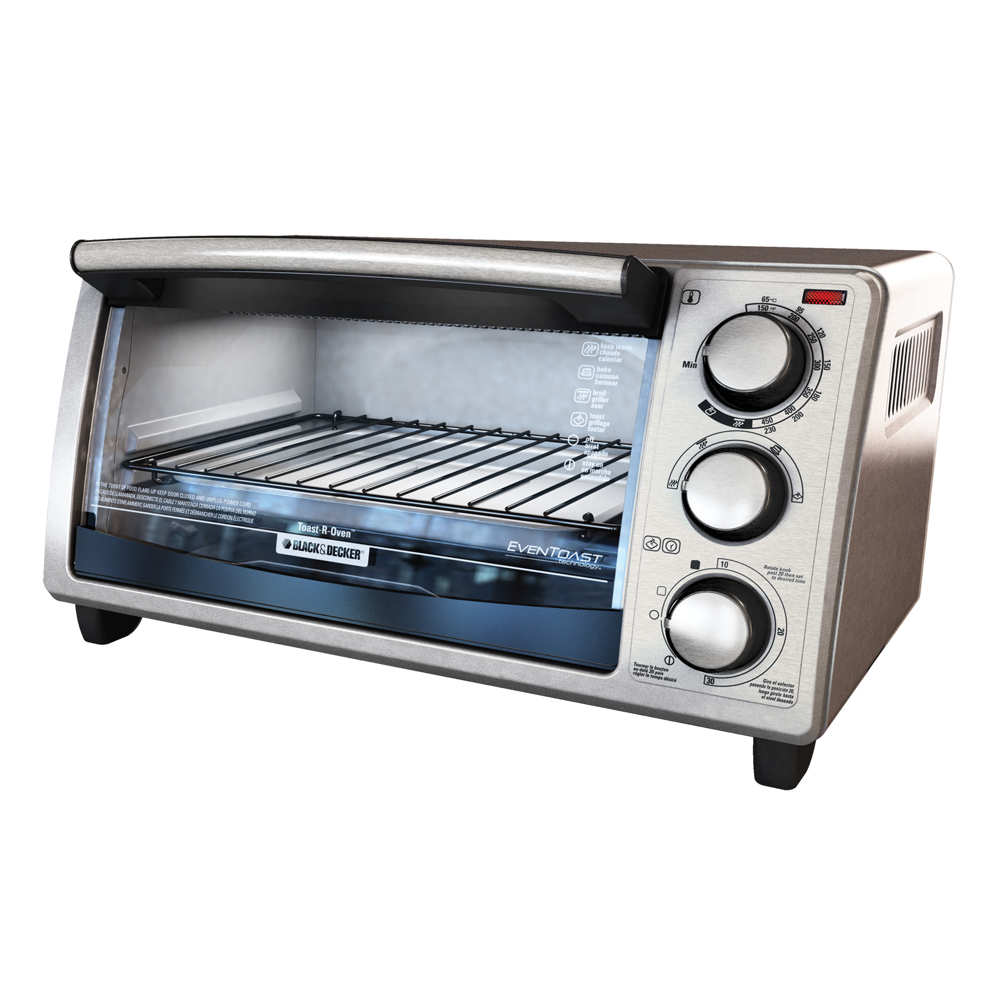 BLACK+DECKER 4-Slice Toaster Oven, Stainless Steel, TO1373SSD