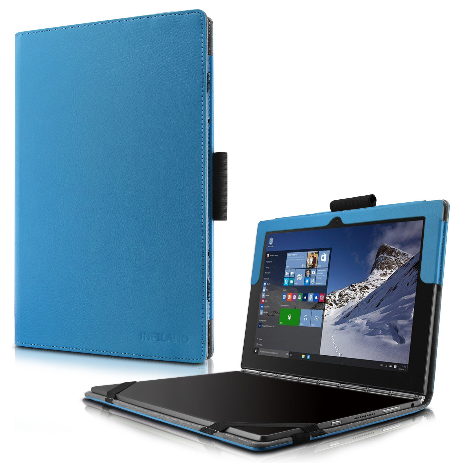 "Infiland Lenovo Yoga Book Case, Folio PU Leather Stand Cover For Lenovo Yoga Book WiFi 10.1"" 2-in-1 Tablet PC (Android and Windows Version), Blue"
