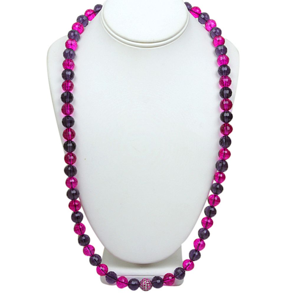 """Stunning 29"""" Pink and Purple Crystal Ball Cross Cut Adjustable Necklace"""